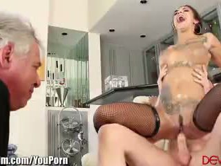 Bonnie Rotten Squirts on peeper While Riding Cock