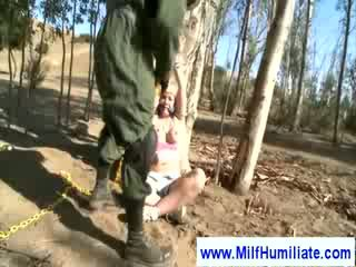 Milf Strapped in the park sucking dick