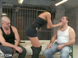 Sexy policewoman fucked by two