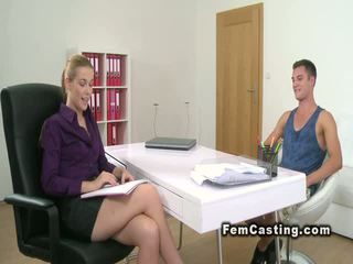 Horny stud bangs female agent in casting