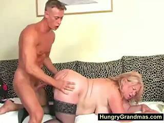 Blondinė storas senelė edna