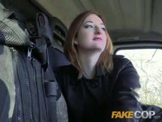 Fake polisiýa gyzykly ginger gets fucked in cops van