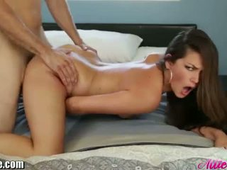 Throated: Brunette Allie Haze gets fucked by a big dick.