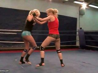 lesbisch, plezier lesbische strijd, alle muffdiving heet
