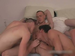 Super horny gay te-ns foursome gay porn