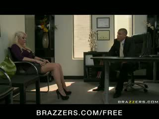 BIG TIT BLOND MILF WIFE IN STOCKINGS FUCK BOSS' DICK IN OFFICE FO