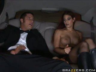 Amazing busty brunette slut sucking cock in a car ana masturbating