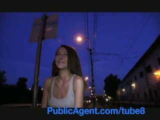 Publicagent smiley brown haired cutie gets paid for bayan
