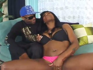 Busty black slut shows off her squirts talent