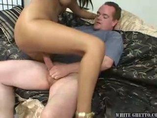 natural tits, interracial, creampie