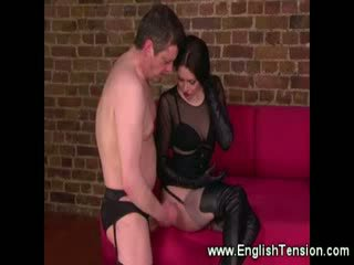 Sissy boy cums on Mistress leather boot