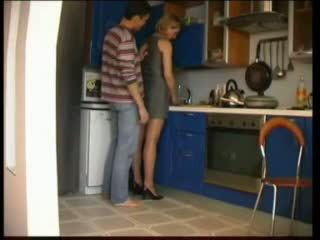 Russian mom fucks in kitchen