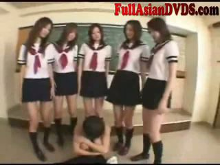 Asian School Grils Play In Classroom