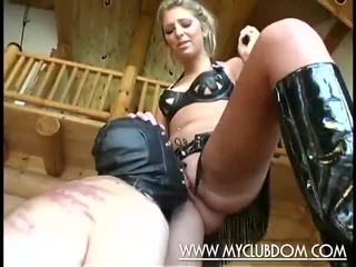 Submissive guy gives oral pleasure