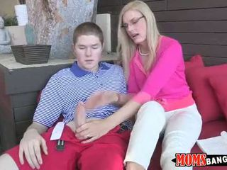 Horny mom sucks teen cock