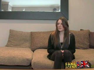 FakeAgentUK Posh young British girl gets anal creampie casting