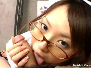 Japanese nurse gives a hot blowjob and hanjo