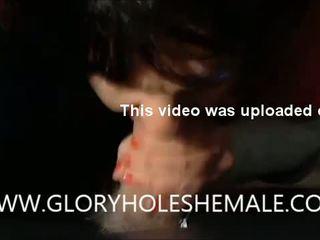 Trans sucking hot b-y at gloryhole