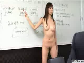Female japonesa employees ir desnuda en trabajo