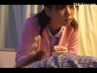 Night Nurse Giving Handjob For Patient On The Hospitals Bed