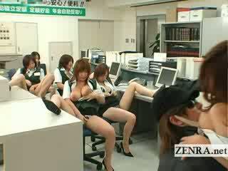 Japoniškas post ofisas plėšikas krūtinga masturbation vakarėlis