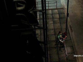 Green latern en archlight krijgen een weinig actie onder de straat lights