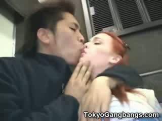 Babe blank meisje in tokyo subway!