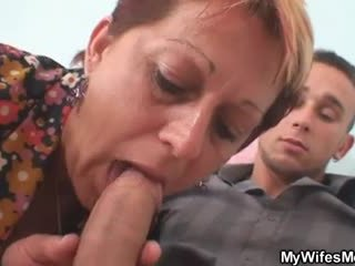 Old bitch seduces her daughter's man