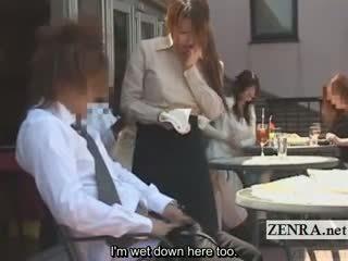 Subtitled japanisch öffentlich cafe erection wiping kellnerin