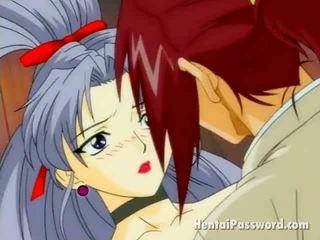 Enticing brunette anime playgirl wanking en neuken an immense phallus