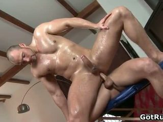 Sexy homo gets massaged and takes