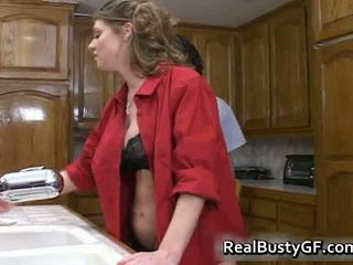 Cute Bigtits Housewife Plays With Black