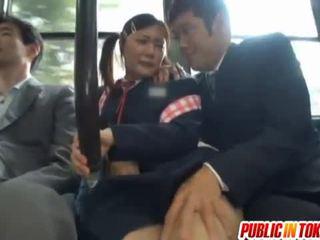 Ocenzurowane japońskie autobus trio