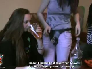 Drunk college girls try out strap-on sex Video