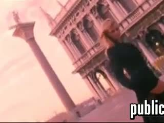 Blonde Beauty Flashing In Italy