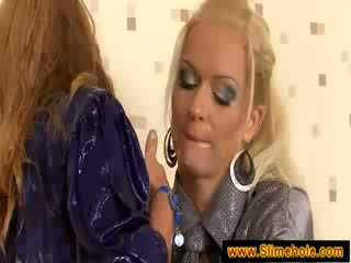 Blondes turning nasty at the glory hole