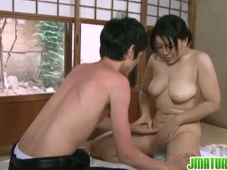 Japanese Matures: Japanese mature babe with her young skinny lover.