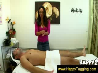 asian hottie gives hj at a salon