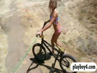 Sexy playmates trying out sand boarding while they were nude