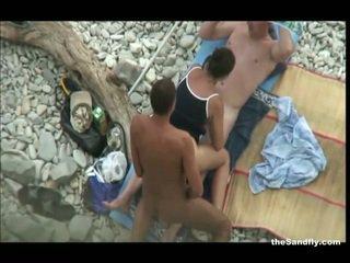 voyeur, praia, hot nudism