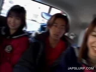 Cutie chick asian girls having fun in the car