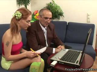 Old teacher is drilling lovely babe doggy position