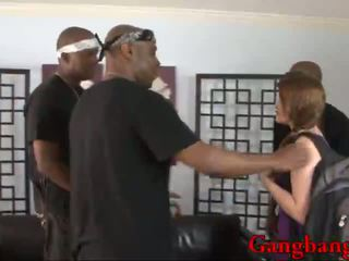 Horny brunette gal suck 3 black cocks and got her pussy DPed