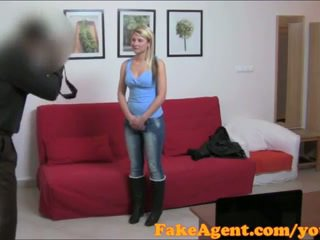 FakeAgent Shy blonde babe takes cock i...