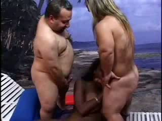 Midget lifeguards punish ebony lady video