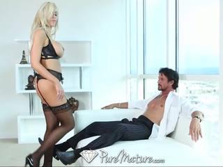 PureMature Sexy blonde MILF in black lingerie get creampied