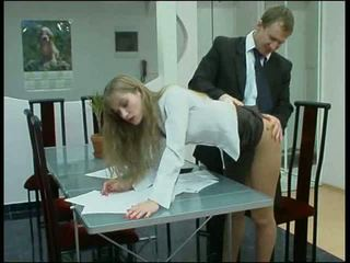 Blonde panties office babe fuck