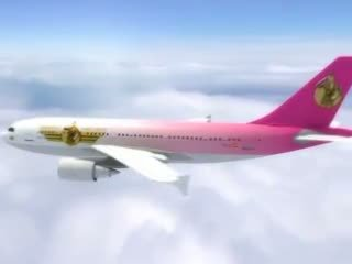 Sexy stewardess gets fresh sperm aboard