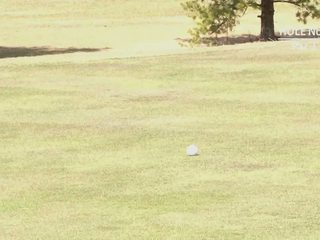 Asian slut takes it from behind in a golf course