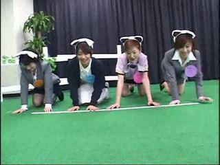 Japans contestants deelnemen in een gek gameshow video-